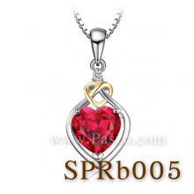 จี้พลอยทับทิม จี้หัวใจ ชุดทับทิมหัวใจทอง จี้เงินแท้ พลอยสีแดง