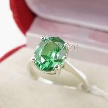 แหวนพลอยมรกต เม็ดเดี่ยว  พลอยสีเขียว แหวนขนาดใหญ่ แหวนเงินแท้ 925