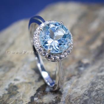 แหวนพลอยอความารีน อะความารีนเม็ดกลมล้อมเพชร แหวนเงินแท้ #7