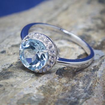 แหวนพลอยอความารีน อะความารีนเม็ดกลมล้อมเพชร แหวนเงินแท้ #9