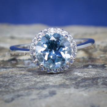 แหวนพลอยอความารีน อะความารีนเม็ดกลมล้อมเพชร แหวนเงินแท้ #8