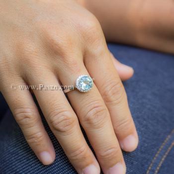 แหวนพลอยอความารีน อะความารีนเม็ดกลมล้อมเพชร แหวนเงินแท้ #6