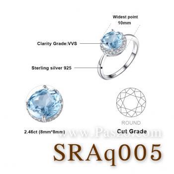 แหวนพลอยอความารีน อะความารีนเม็ดกลมล้อมเพชร แหวนเงินแท้ #5