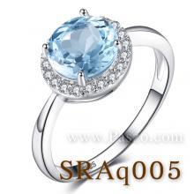 แหวนพลอยอความารีน อะความารีนเม็ดกลมล้อมเพชร แหวนเงินแท้ พลอยสีฟ้า พลอยเม็ดกลม ล้อมเพชร