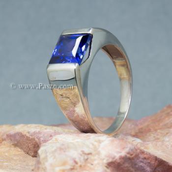 แหวนผู้ชายพลอยสีน้ำเงิน แหวนผู้ชายพลอยสี่เหลี่ยม แหวนผู้ชายเงินแท้ #7