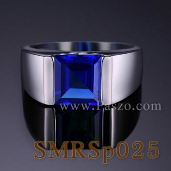 แหวนผู้ชายพลอยสีน้ำเงิน แหวนผู้ชายพลอยสี่เหลี่ยม แหวนผู้ชายเงินแท้ #2