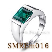 แหวนผู้ชายพลอยสีเขียว แหวนผู้ชายพลอยสี่เหลี่ยม แหวนผู้ชาย แหวนเงินแท้ แหวนผู้ชายมรกต