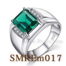 แหวนผู้ชายพลอยสีเขียว แหวนผู้ชายพลอยสี่เหลี่ยม แหวนผู้ชายเงินแท้ แหวนผู้ชาย