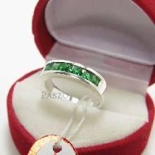 แหวนพลอยมรกต แหวนแถว แหวนเงินแท้ พลอยมรกต พลอยสีเขียว เม็ดสี่เหลี่ยม 6เม็ด