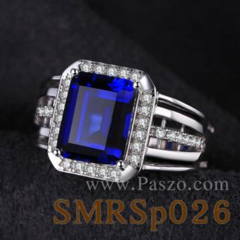 แหวนผู้ชายพลอยไพลิน พลอยสี่เหลี่ยม แหวนผู้ชาย #4
