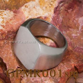 แหวนสี่เหลี่ยมหน้าเรียบ แหวนสแตนเลส ปัดด้าน #6