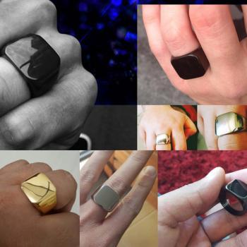 แหวนสี่เหลี่ยมหน้าเรียบ แหวนทองชุบ ปัดด้าน #6