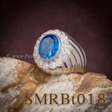 แหวนพลอยสีฟ้า แหวนผู้ชายเงินแท้ พลอยสีฟ้า ล้อมเพชร แหวนผู้ชาย