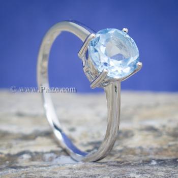 แหวนพลอยอความารีน พลอยเม็ดกลม แหวนเงิน #3