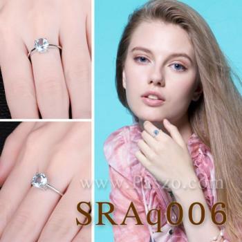 แหวนพลอยอความารีน พลอยเม็ดกลม แหวนเงิน #5