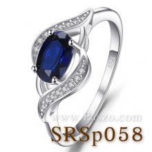 แหวนพลอยไพลิน ล้อมเพชร แหวนเงิน พลอยสีน้ำเงิน