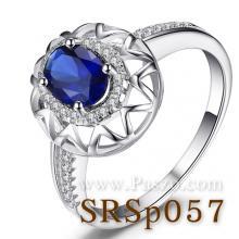 แหวนไพลิน ชุดตะวันฉาย ล้อมเพชร แหวนเงิน พลอยสีน้ำเงิน