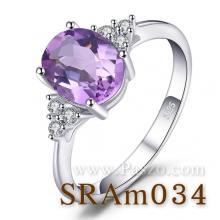 แหวนพลอยสีม่วง เพชรข้างละ3เม็ด แหวนเงิน พลอยเจ้าสามสี