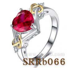 แหวนรูปหัวใจ แหวนพลอยทับทิม ชุดทับทิมหัวใจทอง แหวนเงินแท้