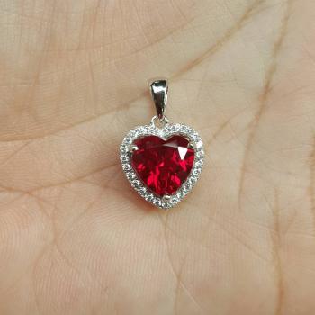 จี้รูปหัวใจ จี้พลอยทับทิม จี้ล้อมเพชร #8
