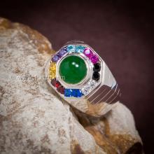 แหวนหยกผู้ชาย แหวนผู้ชายเงินแท้ พลอยหลากสี แหวนแปดเหลี่ยม แหวนผู้ชาย