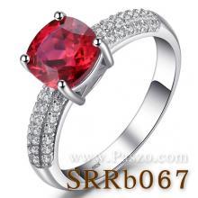 แหวนทับทิม ชุดสะพานดาว เม็ดสี่เหลี่ยม บ่าฝังเพชร แหวนเงินแท้