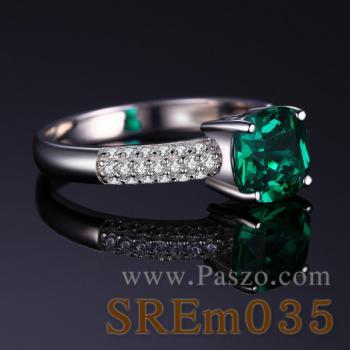 แหวนพลอยมรกต ชุดสะพานดาว แหวนเงินแท้ #2