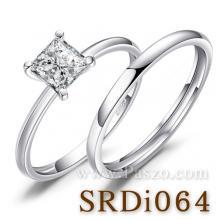 แหวนเพชร เม็ดสี่เหลี่ยม แหวนคู่ แหวนเงินแท้