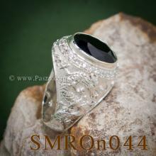 แหวนมังกร ฝังนิล ล้อมเพชร แหวนผู้ชายเงินแท้ แหวนผู้ชาย