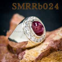 แหวนพลอยทับทิม กินบ่อเซี่ยง แหวนผู้ชายเงินแท้ ล้อมเพชร แหวนทับทิมผู้ชาย แหวนผู้ชาย