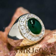 แหวนโมราล้อมเพชร แหวนผู้ชายเงินแท้ พลอยโมรา