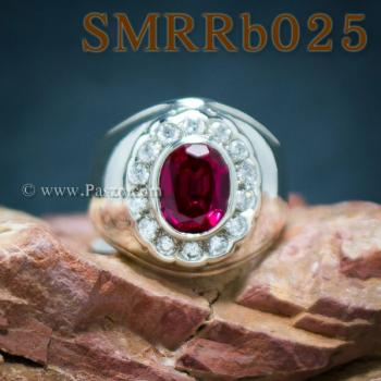 แหวนพลอยสีแดง แหวนผู้ชาย แหวนผู้ชายเงินแท้ #7
