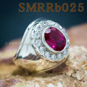 แหวนพลอยสีแดง แหวนผู้ชาย แหวนผู้ชายเงินแท้ #5