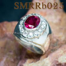 แหวนพลอยสีแดง แหวนผู้ชาย แหวนผู้ชายเงินแท้ แหวนทับทิมผู้ชาย