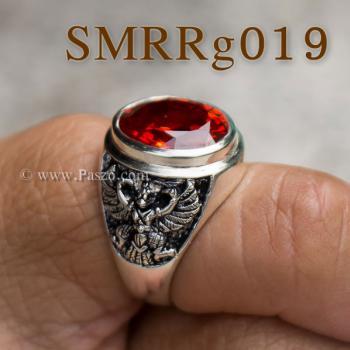 แหวนพลอยโกเมน แหวนครุฑ รมดำ #6