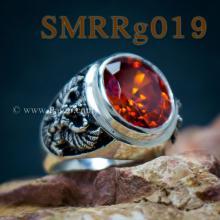 แหวนพลอยโกเมน แหวนครุฑ รมดำ แหวนผู้ชายเงินแท้ แหวนพลอยผู้ชาย ฝังพลอยสีส้ม แกะสลักลายพญาครุฑ แหวนผู้ชาย