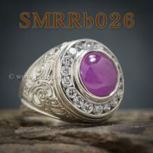 แหวนผู้ชายทับทิม แกะสลักลายไทย แหวนเงินผู้ชาย ล้อมเพชร แหวนผู้ชาย