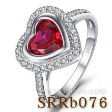 แหวนพลอยทับทิม พลอยรูปหัวใจ ล้อมเพชร แหวนเงินแท้ พลอยสีแดง