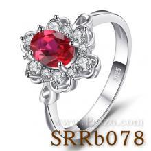 แหวนพลอยทับทิม แหวนล้อมเพชร แหวนเงินแท้ แหวนพลอยแดง