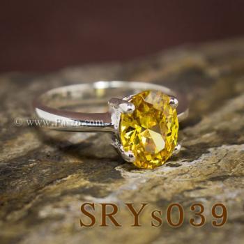 แหวนบุษราคัม แหวนเงิน ฝังพลอยสีเหลือง #5