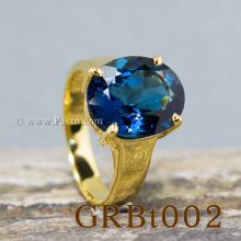แหวนพลอยสีฟ้า แหวนทอง90 บูลโทพาซ เม็ดเดี่ยว แหวนรุ่นใหญ่