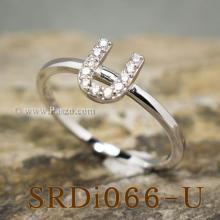 แหวนตัวยู แหวนตัวอักษร U แหวนเงิน ฝังเพชร แหวนเพชร