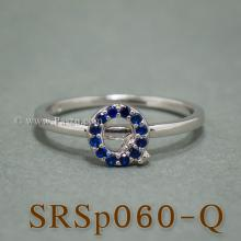 แหวนตัวอักษร แหวนตัวคิว Q แหวนเงิน ฝังไพลิน แหวนไพลิน