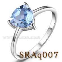 แหวนพลอยอความารีน พลอยสามเหลี่ยม แหวนเงิน พลอยสีฟ้าน้ำทะเล แหวนพลอยเม็ดเดี่ยว