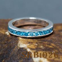 แหวนพลอยสีฟ้า ฝังพลอยรอบวง แหวนเงิน ฝังบูลโทพาส