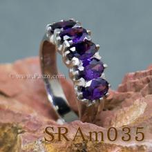 แหวนพลอยสีม่วง แหวนเงิน แหวนแถว ฝังพลอย5เม็ด