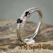 แหวนไพลิน พลอยคู่ ประดับเพชร แหวนเงินแท้