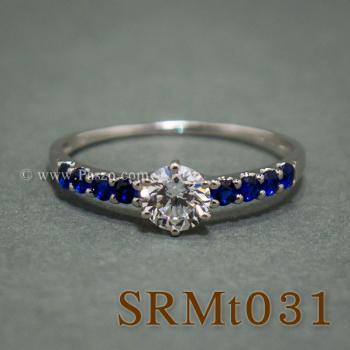 แหวนเพชร บ่าพลอยไพลิน แหวนเงินแท้ #3