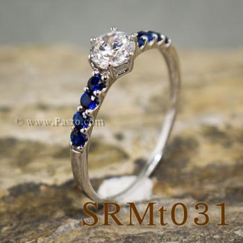 แหวนเพชร บ่าพลอยไพลิน แหวนเงินแท้ #2