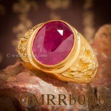 แหวนทับทิม แหวนทอง90 ลายพญาครุฑ แหวนผู้ชายทองแท้ ฝังพลอยสีแดง แหวนครุฑ